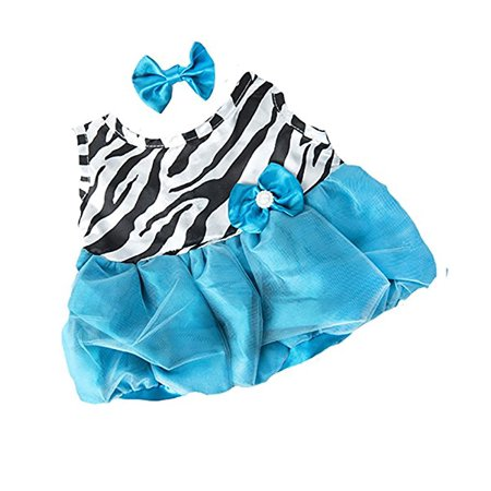 Dressed Teddy Bear - Turquoise Zebra Dress w/bow Teddy Bear Clothes Outfit Fits Most 14