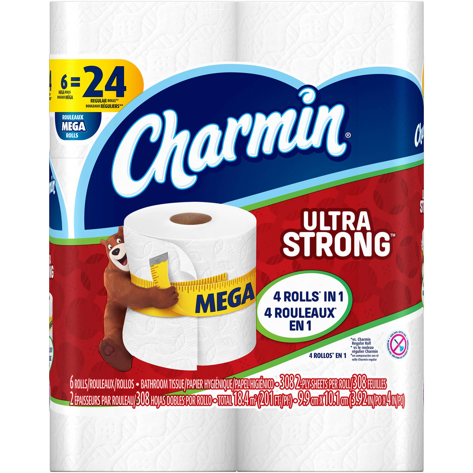 Charmin Ultra Strong Toilet Paper Mega Rolls, 308 sheets, 6 rolls