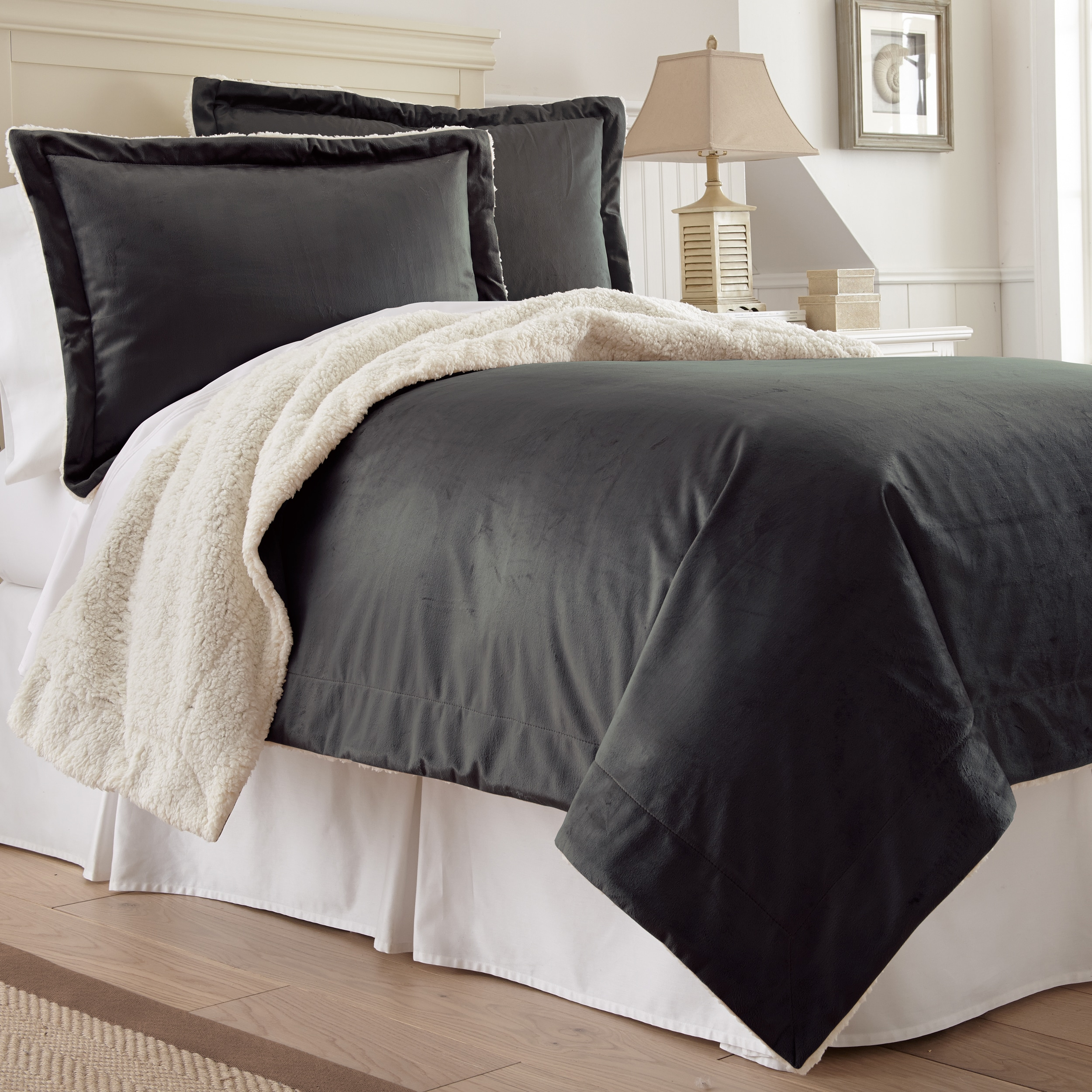 Amrapur Overseas Inc. Plush Sherpa 2 Piece Comforter Set - Charcoal - Twin
