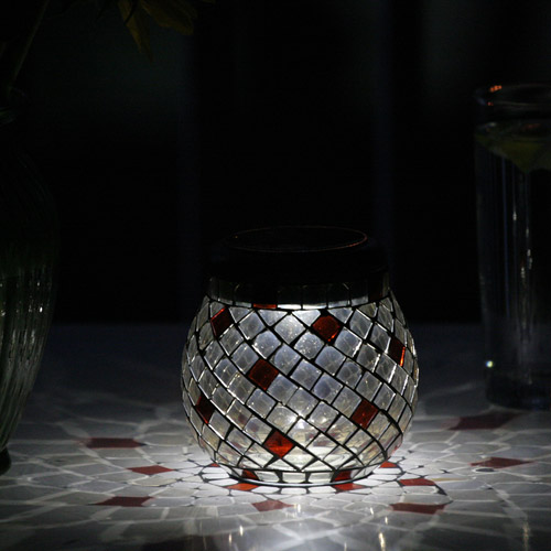 Smart Solar Glass Mosaic Solar T-Light, Champagne
