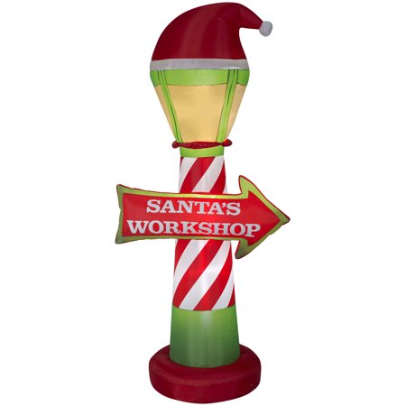 Airblown Inflatables Santa's Workshop Lamp Post and Sign Large Coffee Outdoor Led Sign