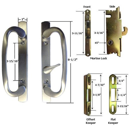Sliding Glass Patio Door Handle Kit With Mortise Lock And Keepers B