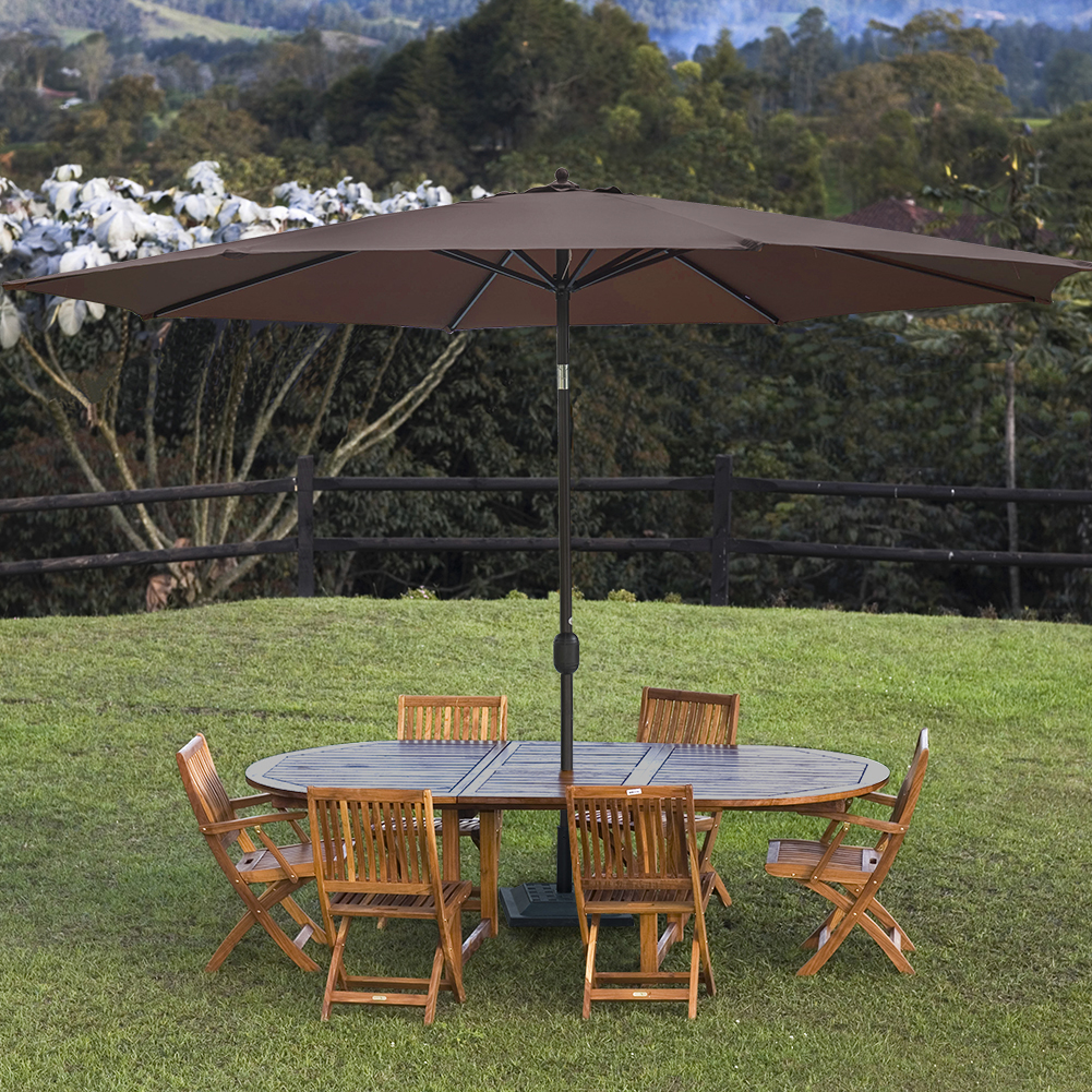 Sundale Outdoor 11 Feet Round Market Patio Umbrella Bronze Aluminum Pole, Push Button Tilt... by Sundale Outdoor