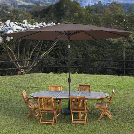 Sundale Outdoor 11 Feet Round Market Patio Umbrella Bronze Aluminum Pole, Push Button Tilt with Crank, UV Protection and Fade Resistant Canopy 11' Auto Tilt Umbrella