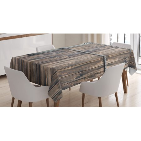 Rustic Decor Tablecloth, Wooden Tree Planks with Old Little Rusty Metal Boat Marine Door Print, Rectangular Table Cover for Dining Room Kitchen, 60 X 90 Inches, Brown and Grey , by Ambesonne - Rustic Table Cloth