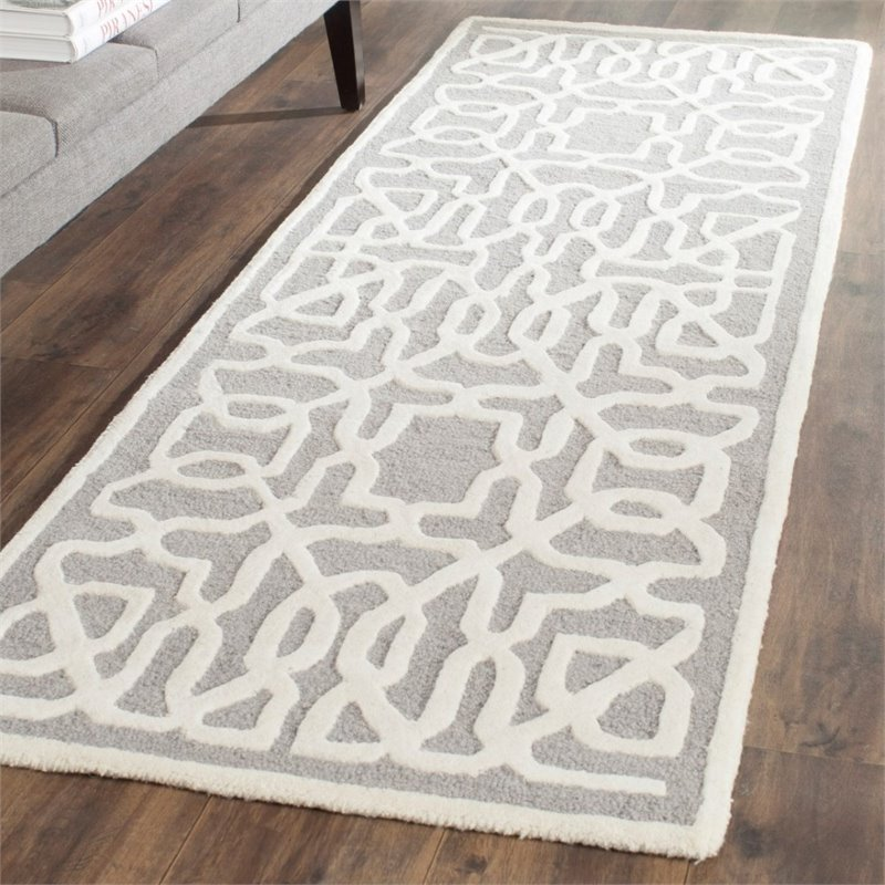 Safavieh Cambridge 6' X 9' Hand Tufted Wool Rug in Silver and Ivory - image 7 de 10