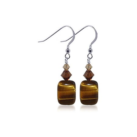 Gem Avenue 925 Sterling Silver Tiger Eye Brown Drop Earrings ()