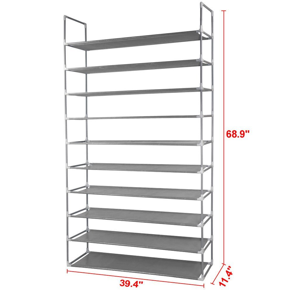 10 Tier Space Saving Storage Organizer 50 Pair Shoe Tower Rack Free  Standing, Introductions: