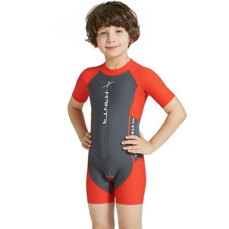 5d9d651a0a Baby Kids Unisex One Piece Wetsuit Sun Protection Short Sleeve Short Shorts  Swimsuit - image 8 ...