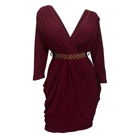 Plus size Deep V-Neck Wrap Bodice Long Sleeve Dress Burgundy