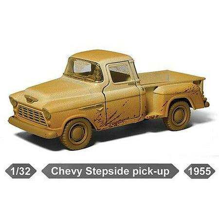 "New 5"" Kinsmart 1955 Chevy Stepside Pickup Truck Muddy Diecast Model 1:32 CREAM"