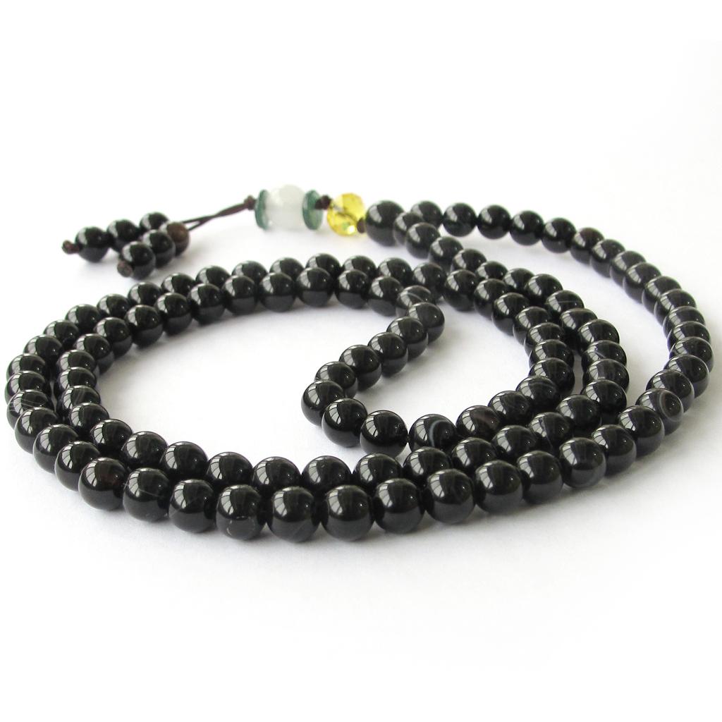 108 Black Agate Beads Tibetan Buddhist Prayer Mala Necklace