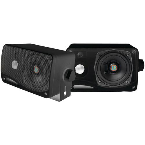 "Pyle PLMR24B 3.5"" 200W 3-Way Weatherproof Mini-box Speaker System, Black"