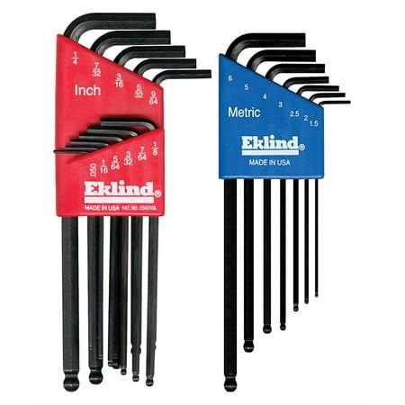 Eklind 13218 18-Piece Combo Metric & Standard Ball Hex Key Set, (Eklind Long Torx Key)
