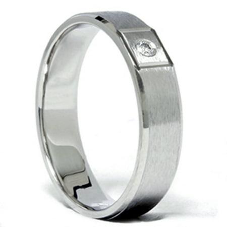 Mens Diamond Solitaire Wedding Band Solid 14K White Gold - image 2 de 2