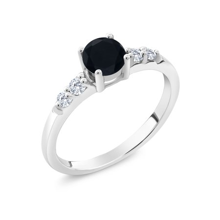 0.63 Ct Round Black Onyx G/H Lab Grown Diamond 925 Sterling Silver Ring