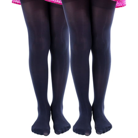 2 Pairs of Mod & Tone Girls Microfiber Opaque Tights (2-4, Black) - Girls Black Opaque Tights
