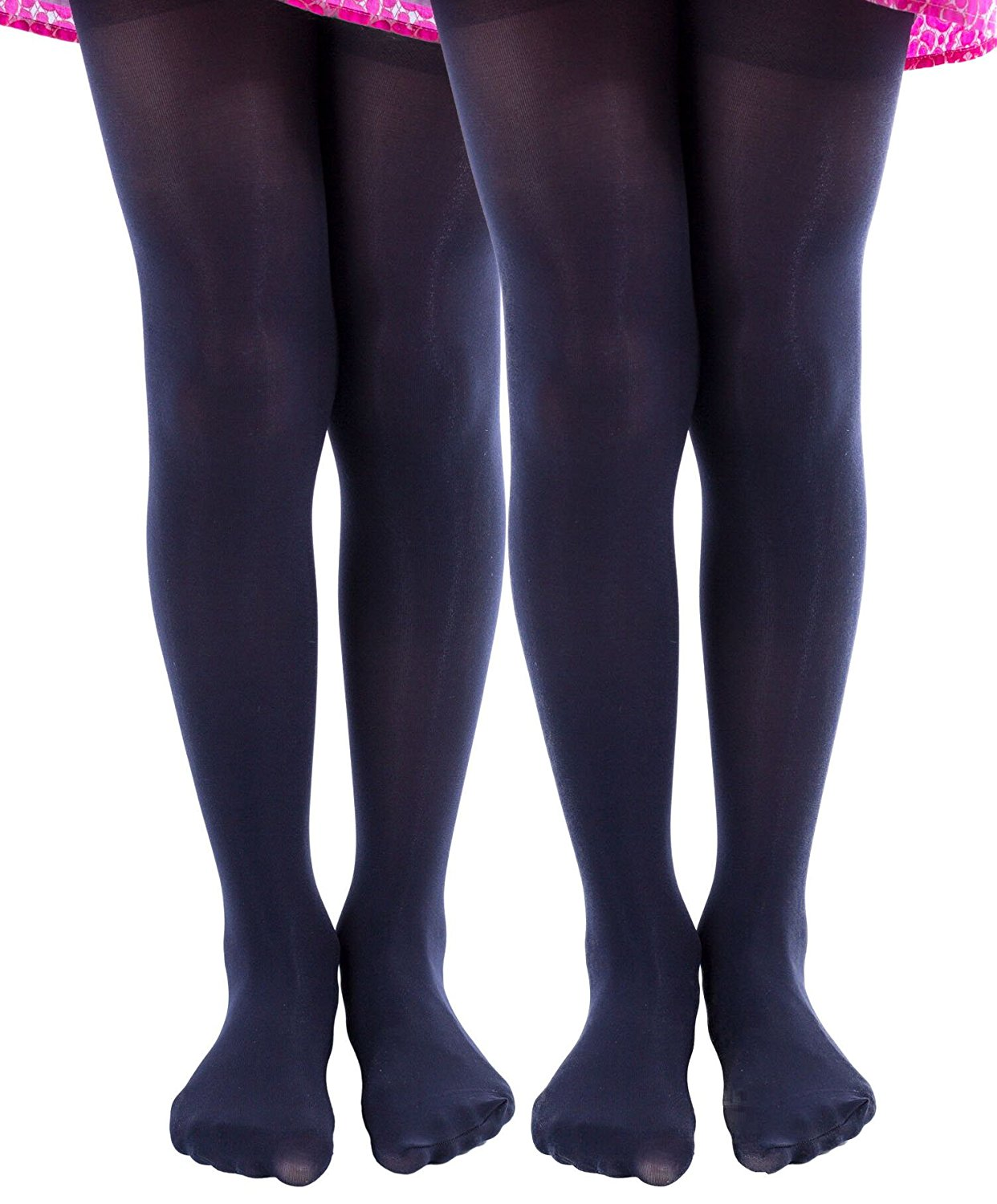 2 Pairs of Mod & Tone Girls Microfiber Opaque Tights (2-4, Black)
