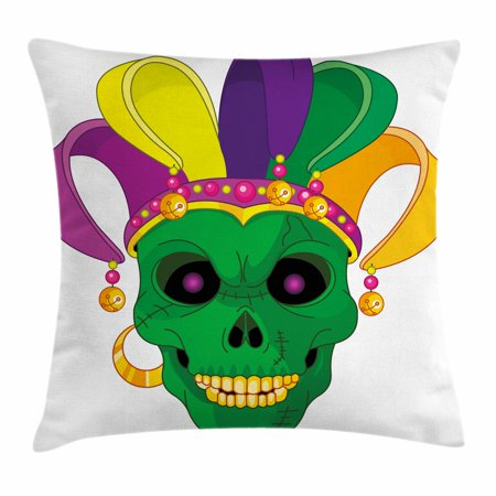Scary Carnival (Mardi Gras Throw Pillow Cushion Cover, Scary Looking Green Skull Mask with Carnival Hat Beads and Earring Cartoon Style, Decorative Square Accent Pillow Case, 18 X 18 Inches, Multicolor, by)