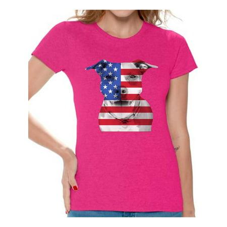 fb3196b98a4 Awkward Styles - Awkward Styles Women s USA Flag Pitbull Graphic T-shirt  Tops American Flag Pitbull Patriotic 4th of July - Walmart.com