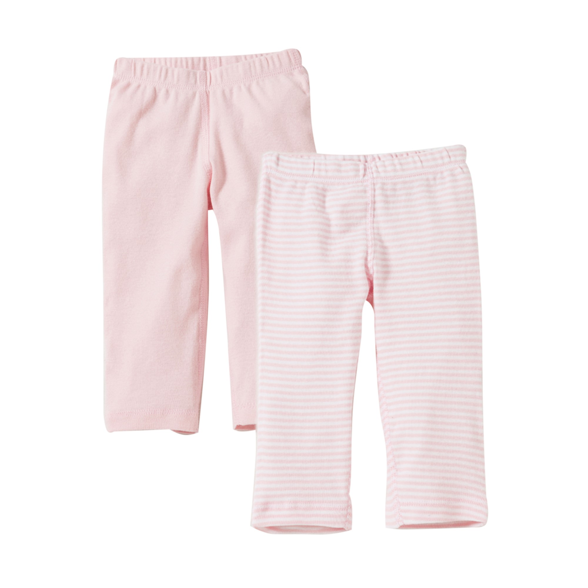 Organic Footless Pants, Solid and Stripe, 9M, Blossom, 2 Ct
