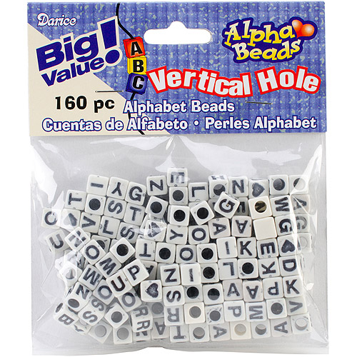Darice Alphabet Beads, 6mm, 160/pkg, Black/White