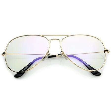sunglassLA - Retro Large Double Nose Bridge Slim Temple Clear Lens Aviator Eyeglasses 61mm (Gold / Clear) - (Best Sunglasses For Large Nose)