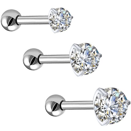 BodyJ4You 3PC Tragus Earrings Cartilage Studs 16G Daith Labret Lip Clear CZ Steel Barbell Jewelry