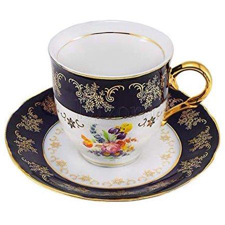 Euro Porcelain Premium 12-pc Dark Cobalt Blue Espresso Cappuccino Cup Set, Vintage Design Floral Pattern, Original Czech Tableware 24K Gold-Plated Ornament Service for 6 Floral Design Porcelain
