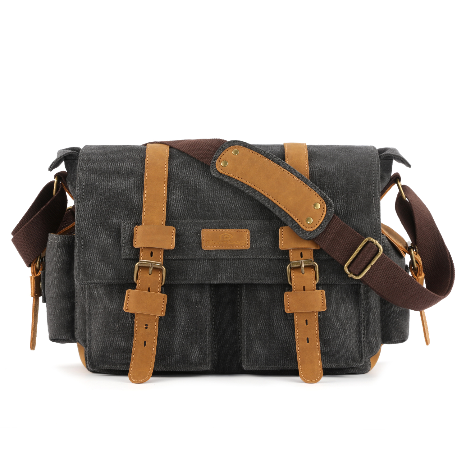 Plambag DSLR Camera Shoulder Bag Canvas Faux Leather Messenger Bag