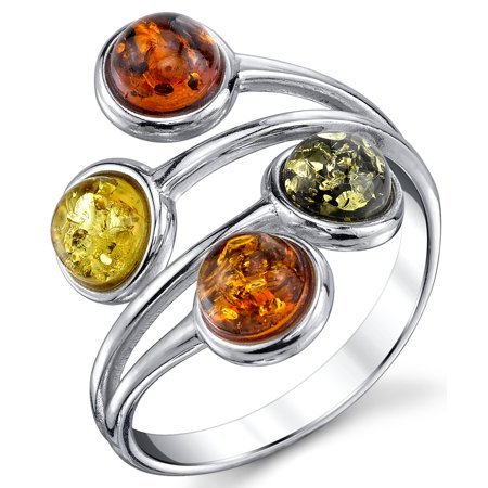 Sterling Silver Baltic Amber Ring with Multi Color Cabochon, Cherry Honey Olive and Cognac Sizes 5 - 9
