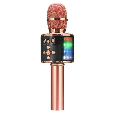 karaoke Microphone,4 In 1 Wireless LED h Karaoke Microphone with Light ,Mini USB Speaker for Home KTV Mini Usb Microphones