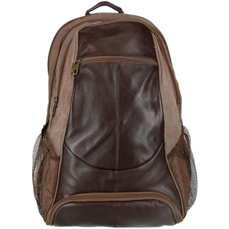 99dbca2462b ctm - size one size men s leather and canvas backpack with laptop and shoe  compartment - Walmart.com