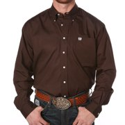 Cinch Men's Classic Fit Long Sleeve Button One Open Pocket Solid Basic, Brown, Small