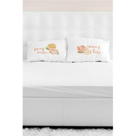 One Bella Casa 82379cse Pray More Worry Less Pillow Case Multicolor 44 Set Of 2 Walmart Com Walmart Com