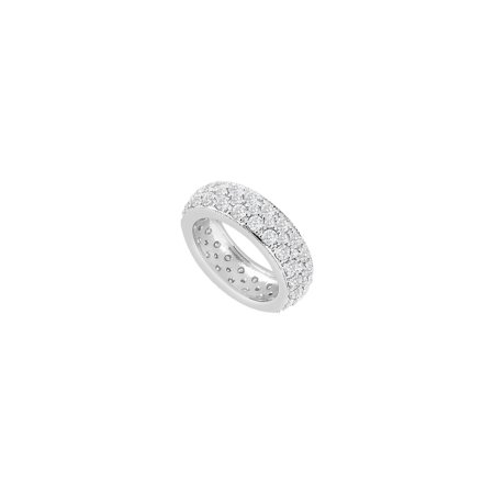 Sterling Silver Pave CZs Three Row Eternity Wedding Band 1.75 Carat CZs - image 2 of 2