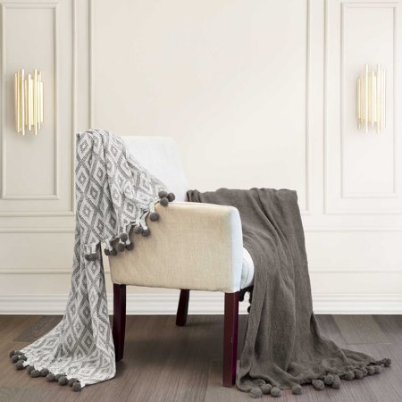 Amrapur Diamond Maze and Solid 2-Pack Cotton Throw (Limited Edition Cotton Throw)