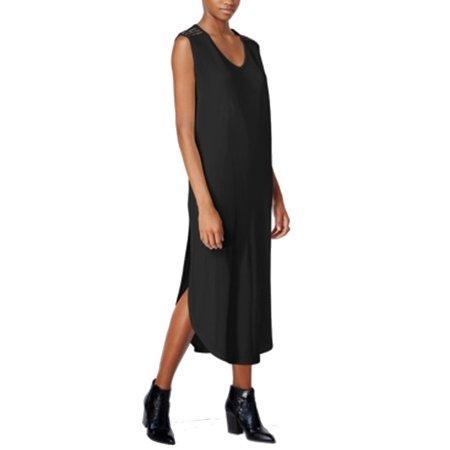 BAR III Womens Black Beaded Cap Sleeve Scoop Neck Tea Length Shift Dress  Size:
