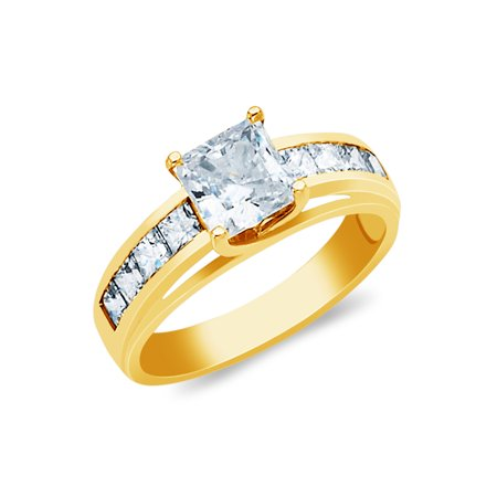ea0cfc342 Ioka - 14K Yellow Solid Gold 1 Ct. Princess Cut Cubic Zirconia CZ with Side  Stones Wedding Engagement Ring - size 8 - Walmart.com