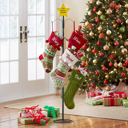 Personalized Metal Christmas Stocking Holder Star Design