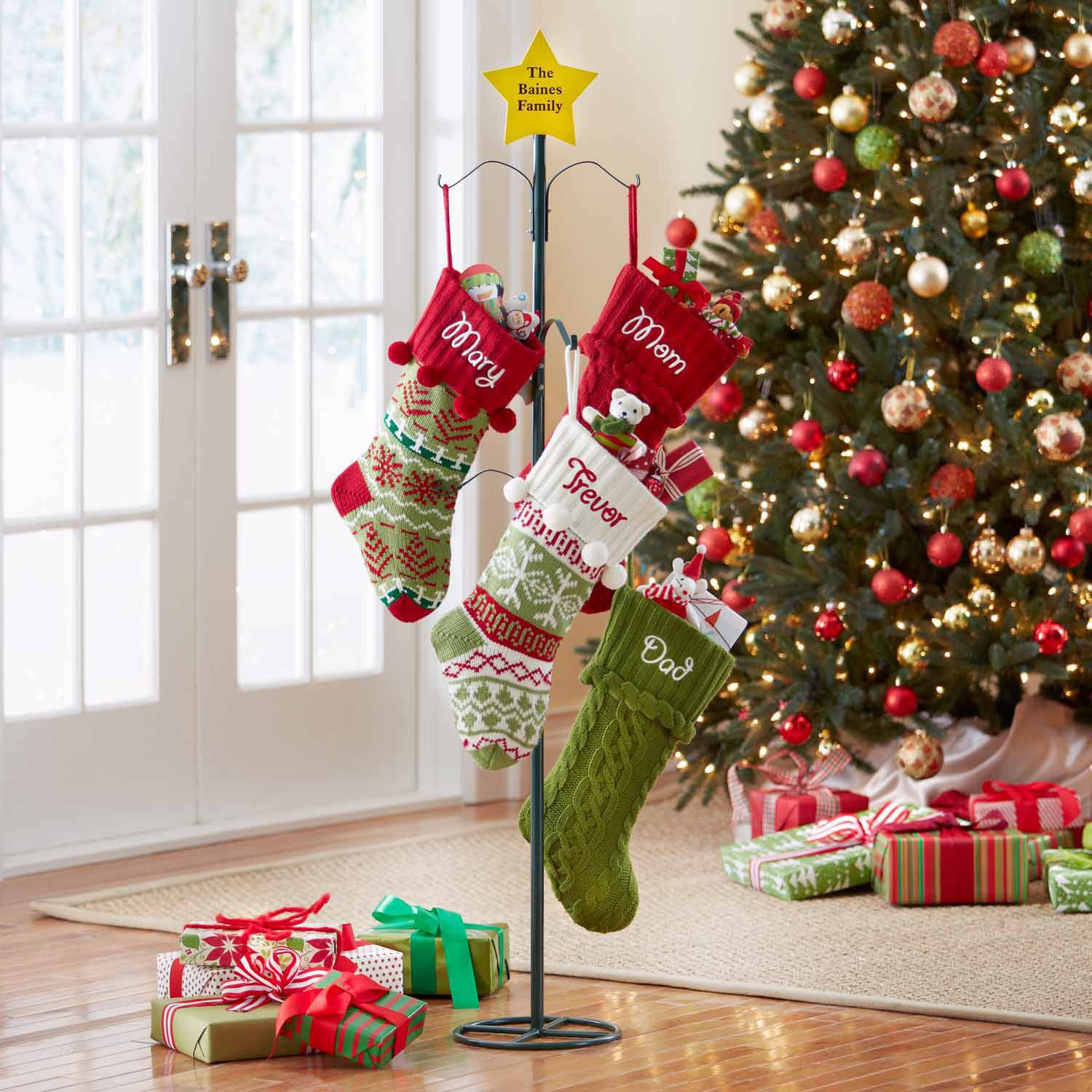 Personalized Metal Christmas Stocking Holder, Star Design