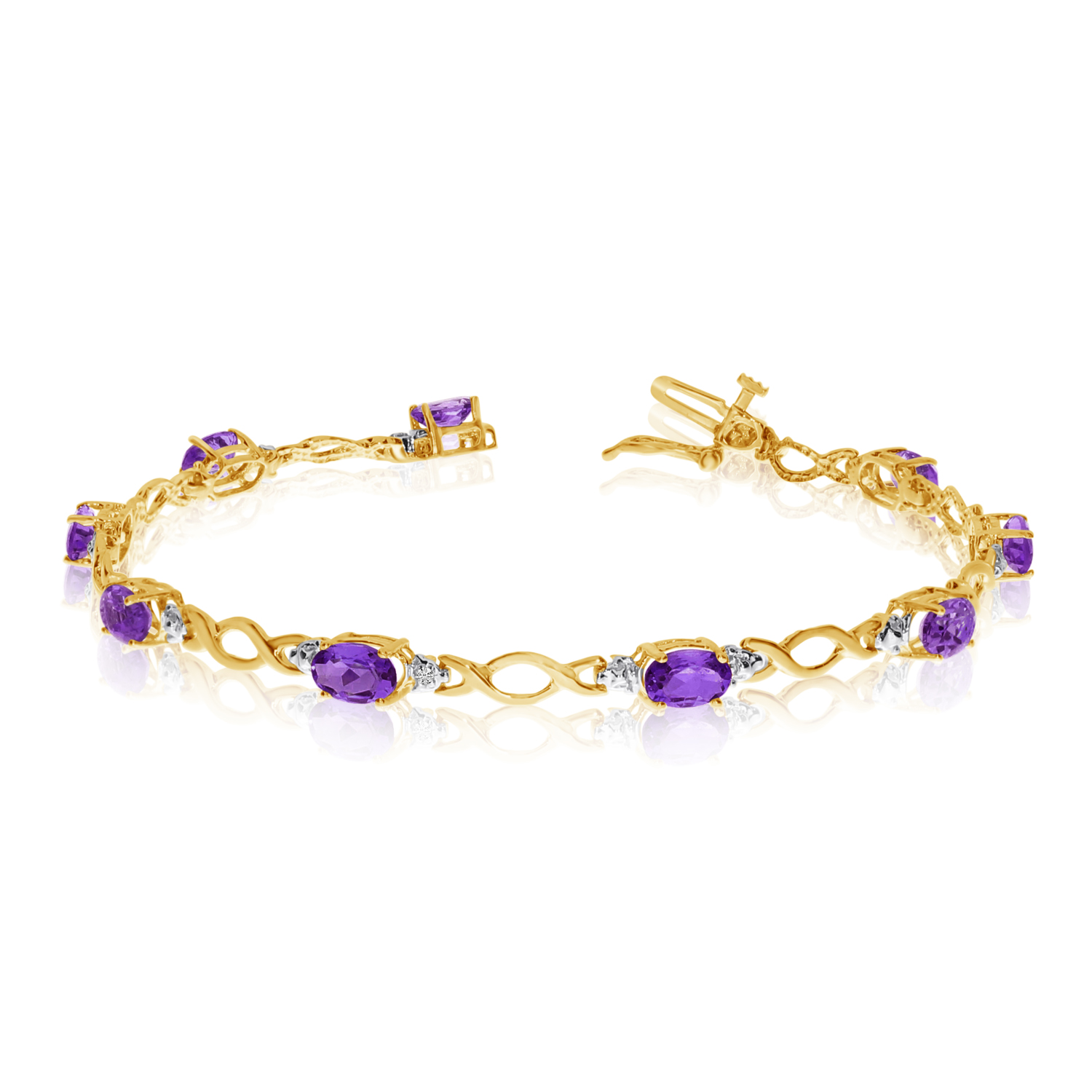 10K Yellow Gold Oval Amethyst and Diamond Bracelet by LCD