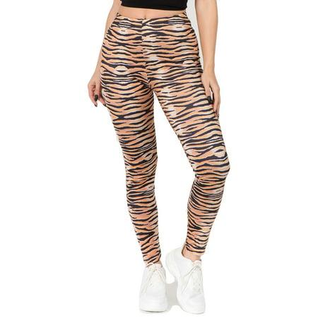 Women's It's a Jungle Tiger Print Peach Skin Leggings