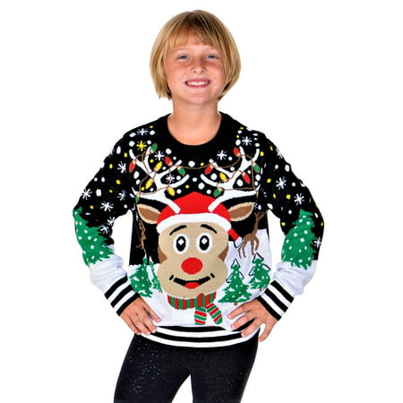 SoCal Look Girls Ugly Christmas Sweater Rudolph The Red Nose Pullover Black ()