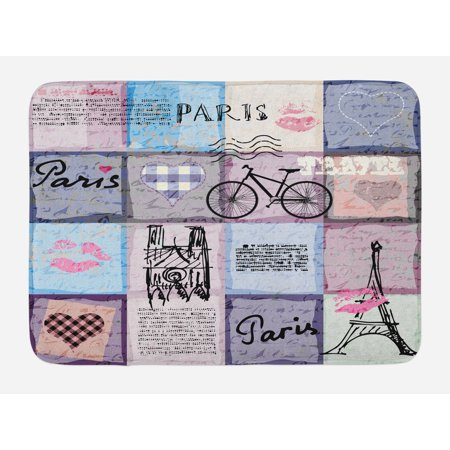 Paris Bath Mat, Grunge Textured Retro Collage of Paris with Famous Object Eiffel Tower Europe Theme, Non-Slip Plush Mat Bathroom Kitchen Laundry Room Decor, 29.5 X 17.5 Inches, Multicolor, - Kitchen Theme Decor