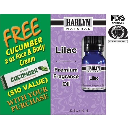 Lilac Fragrance Oil 10 mL - Top Scented Perfume Oil - Premium Grade -  by Harlyn - Includes FREE Cucumber Face & Body Nourishing (Best Body Oil Fragrance)