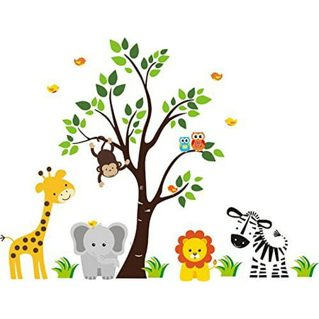 JUNGLE SAFARI ANIMALS Baby Shower Idea Birthday Cake Topper Edible Icing Image 1/4 Sheet Frosting