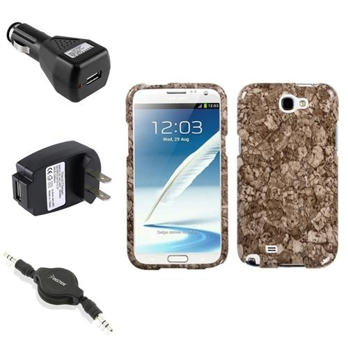 Insten Stone Vein Hard Case+2x Charger+Audio Cable For Samsung Galaxy Note 2 II