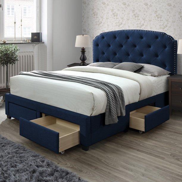 Dg Casa Argo Tufted Upholstered Panel, Blue Velvet Queen Bed With Storage