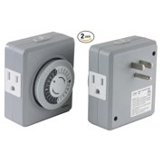 Instapark TU19 24-Hour 15 Amp Heavy-duty Plug-in Mechanical Timer with Dual 3-pin Grounded & Polarized Outlets (2-Pack)